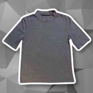 Basic Ribbed Mock-Neck Short Sleeve Shirt
